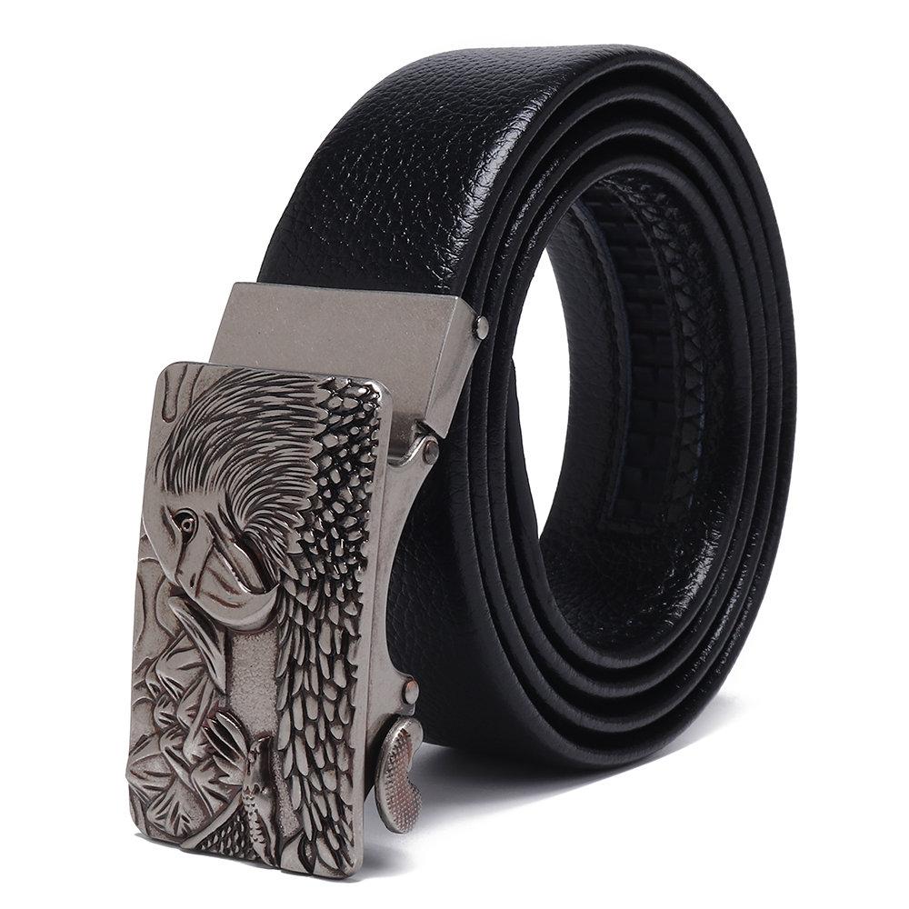 Men Automatic Buckle Belt Outdoor Casual Business Wild Wear Resistant Leather Belt