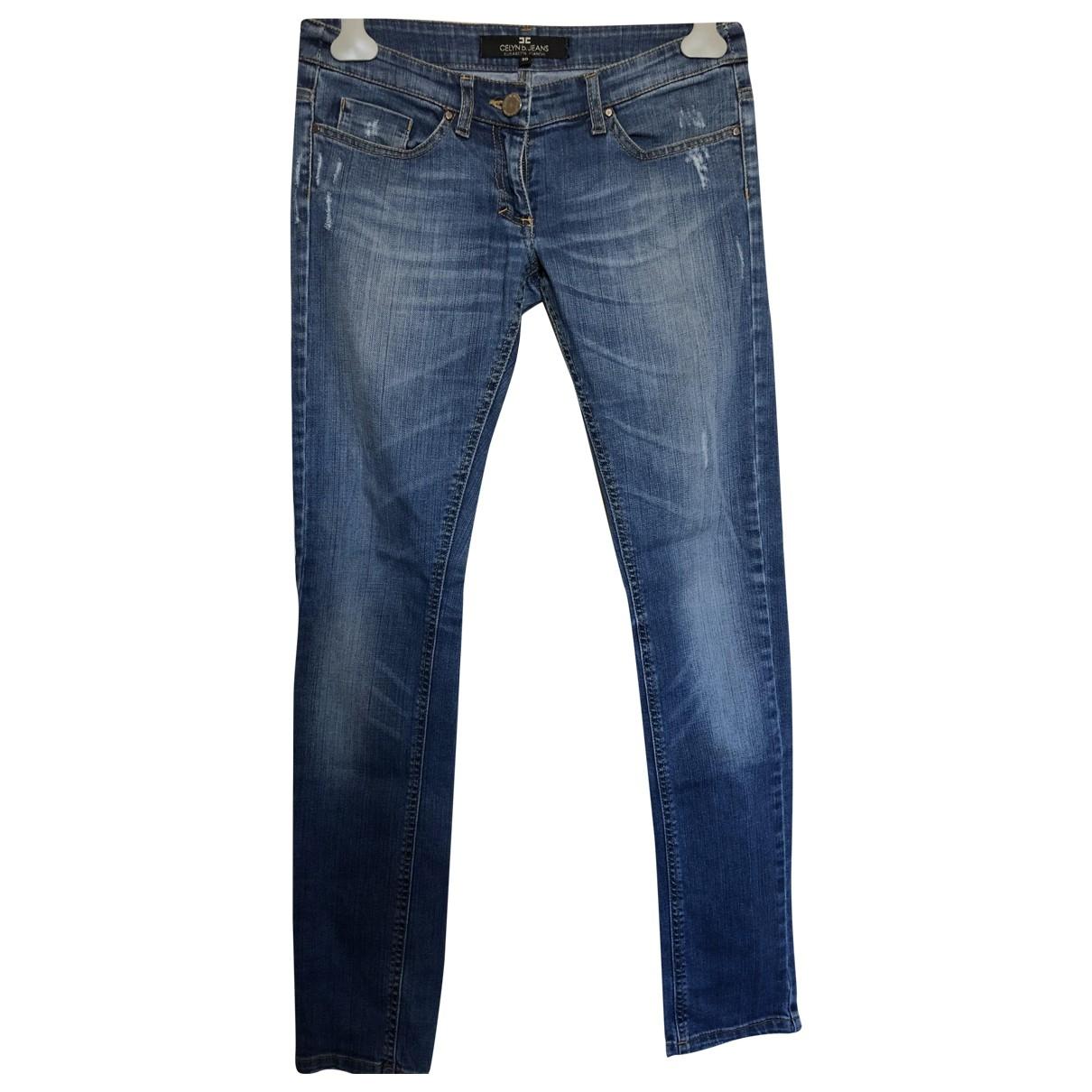 Elisabetta Franchi \N Blue Cotton - elasthane Jeans for Women 30 US