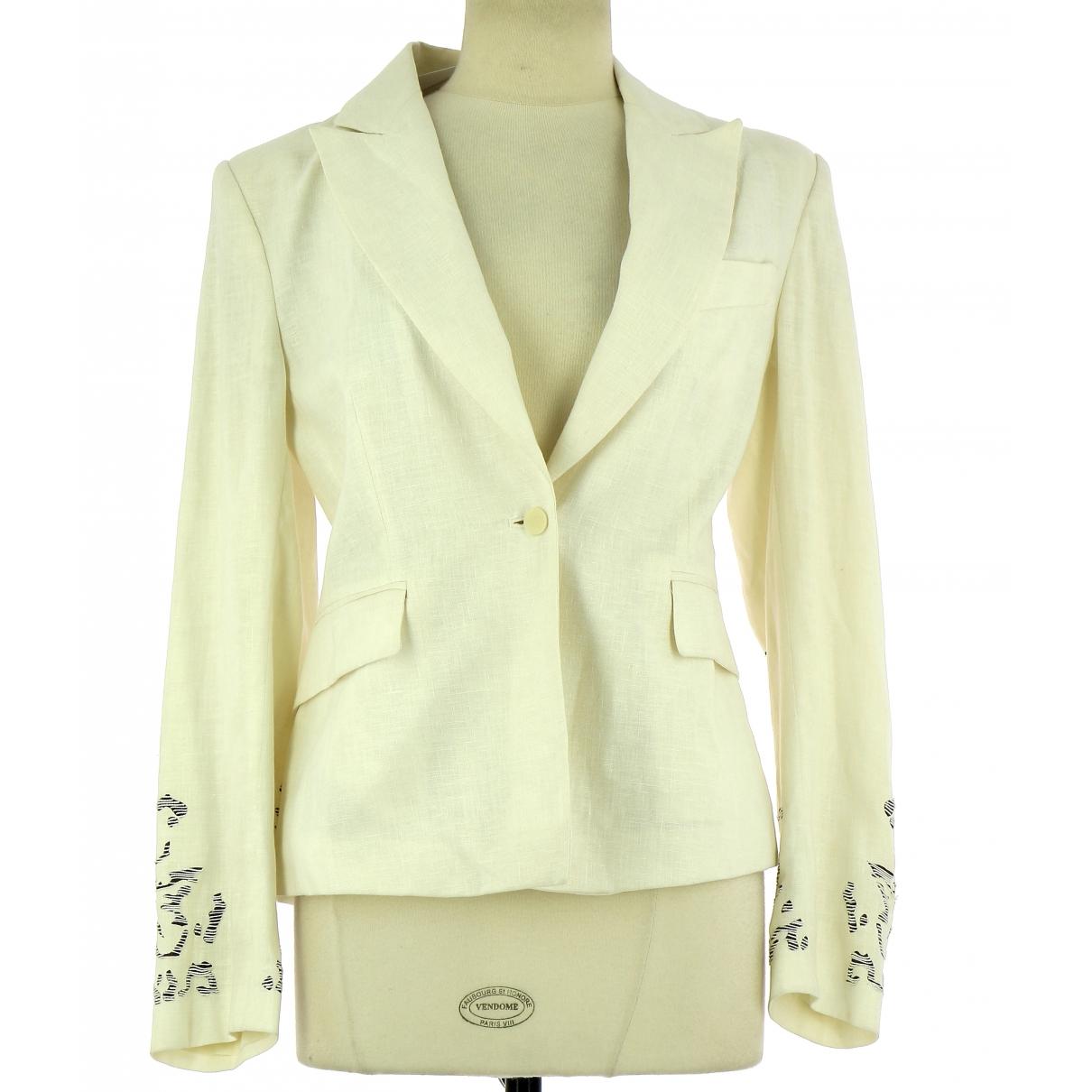 Non Signé / Unsigned \N White Linen jacket for Women 40 FR