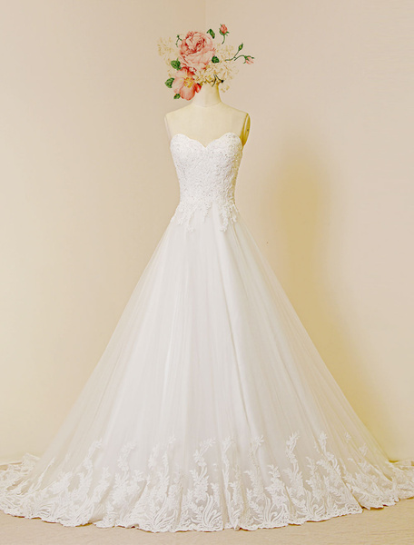 Milanoo Lace Wedding Dress Luxury Sweetheat Strapless A-Line Chapel Train Tulle Applique Bridal Gown