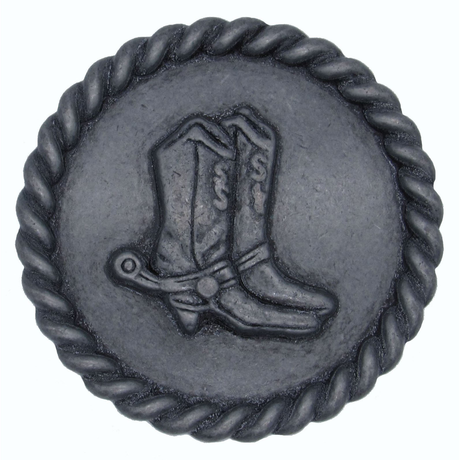 Cowboy Boots with Roped Edge Round Knob, Pewter Oxide