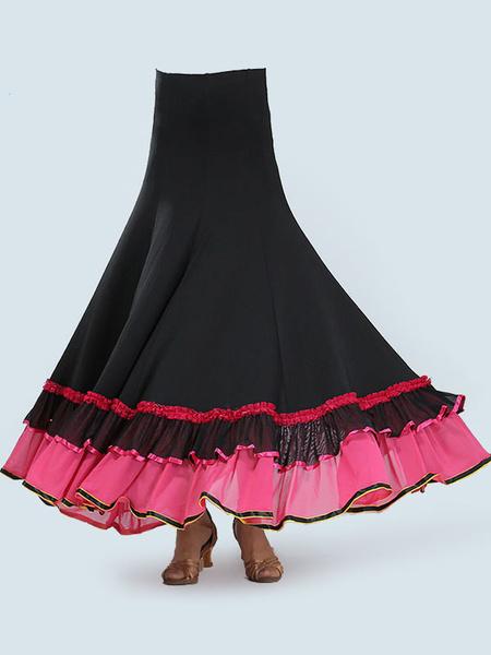 Milanoo Ballroom Dance Costumes Red Ruffle Two Tone Dance Dress