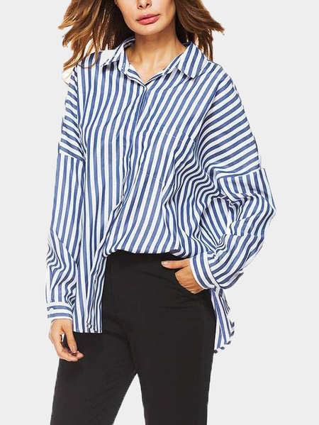 Yoins Blue Stripe Pattern V-neck Long Sleeves Self-tie Back Blouse