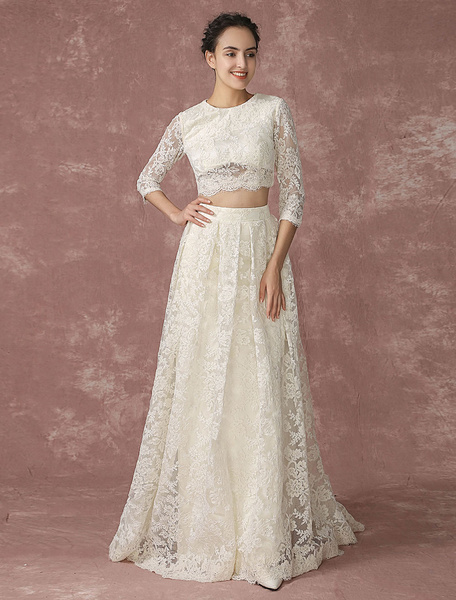 Milanoo Crop Top Lace Wedding Dress Back Design Pockets Bridal Gown Quarter Sleeves Court Train Bridal Dress