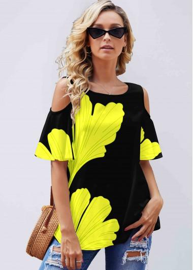Yellow Ginkgo Biloba Print Cold Shoulder T Shirt - M