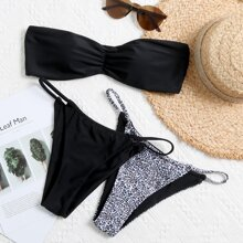 3pack Leopard Ruched Bandeau Thong Bikini Swimsuit