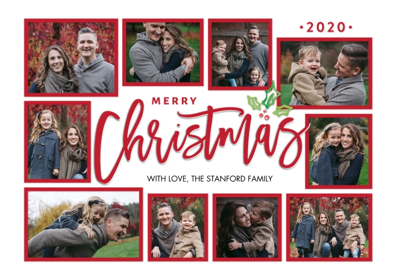 Christmas Photo Cards 5x7 Cards, Premium Cardstock 120lb with Rounded Corners, Card & Stationery -Christmas 2020 Frames Collage by Tumbalina