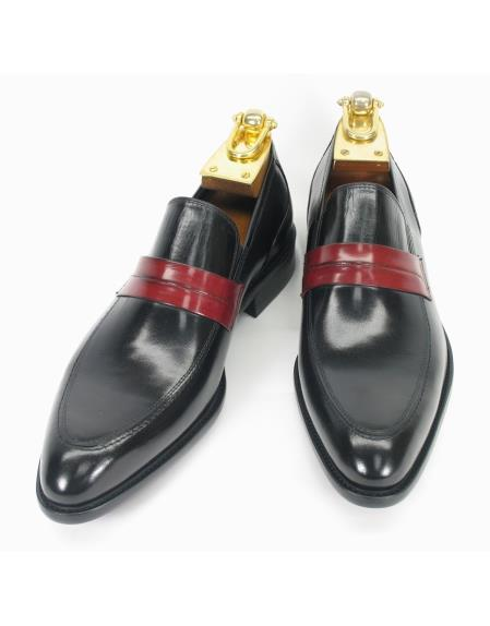 Men's Two Toned Slip On Style Fashionable Black/Cognac Loafer