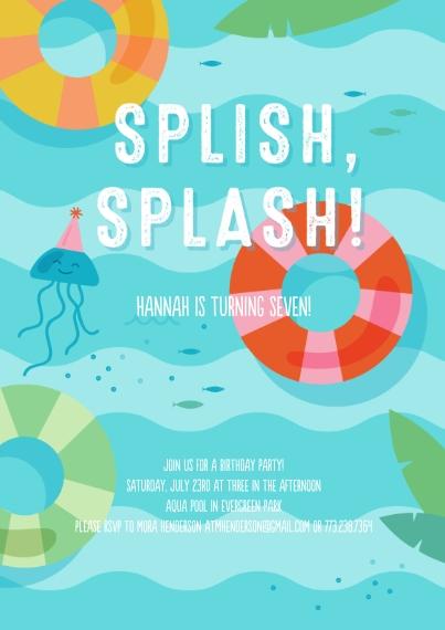 Kids Birthday Party 5x7 Cards, Premium Cardstock 120lb with Scalloped Corners, Card & Stationery -Splish Splash Party Invite