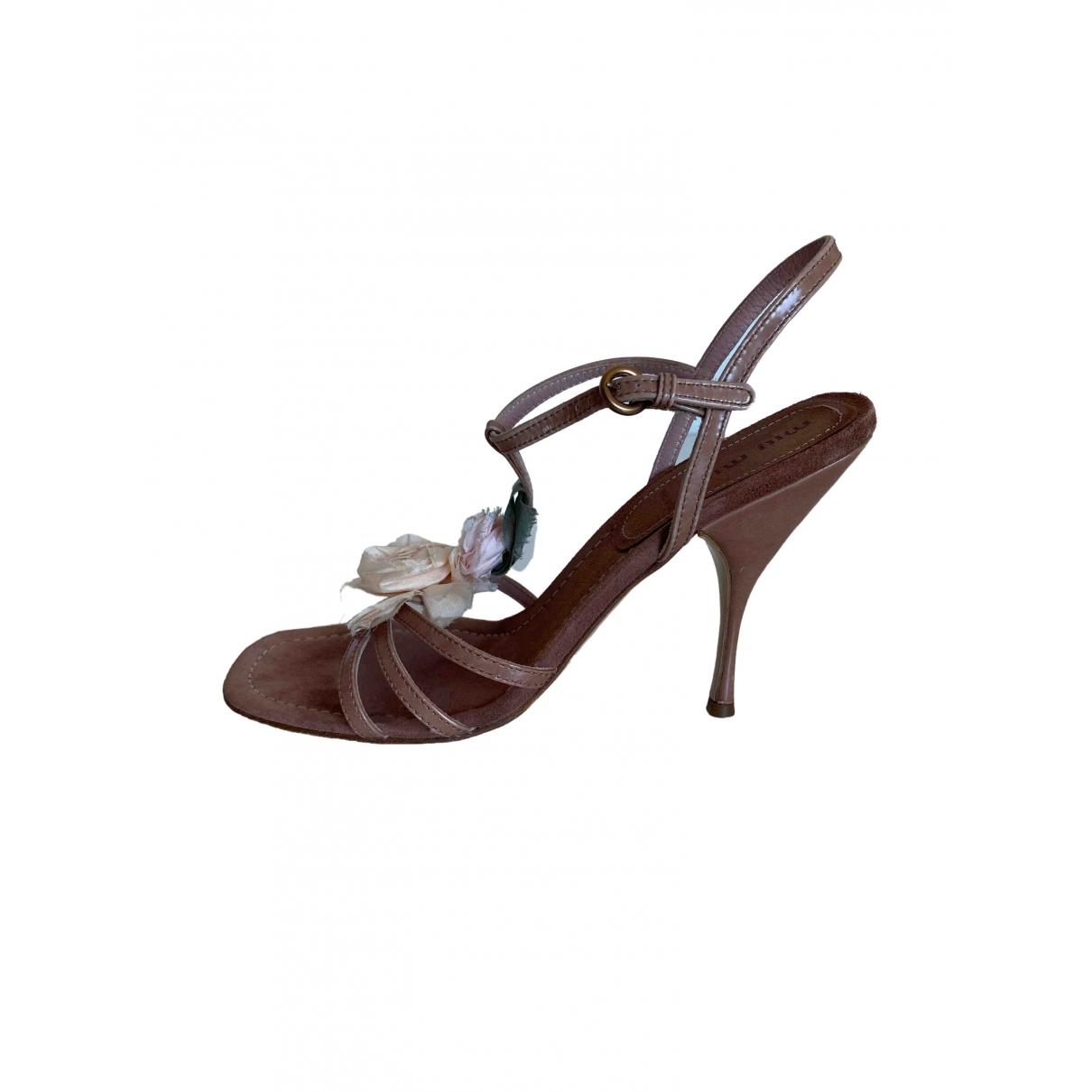 Miu Miu \N Beige Leather Sandals for Women 38 EU