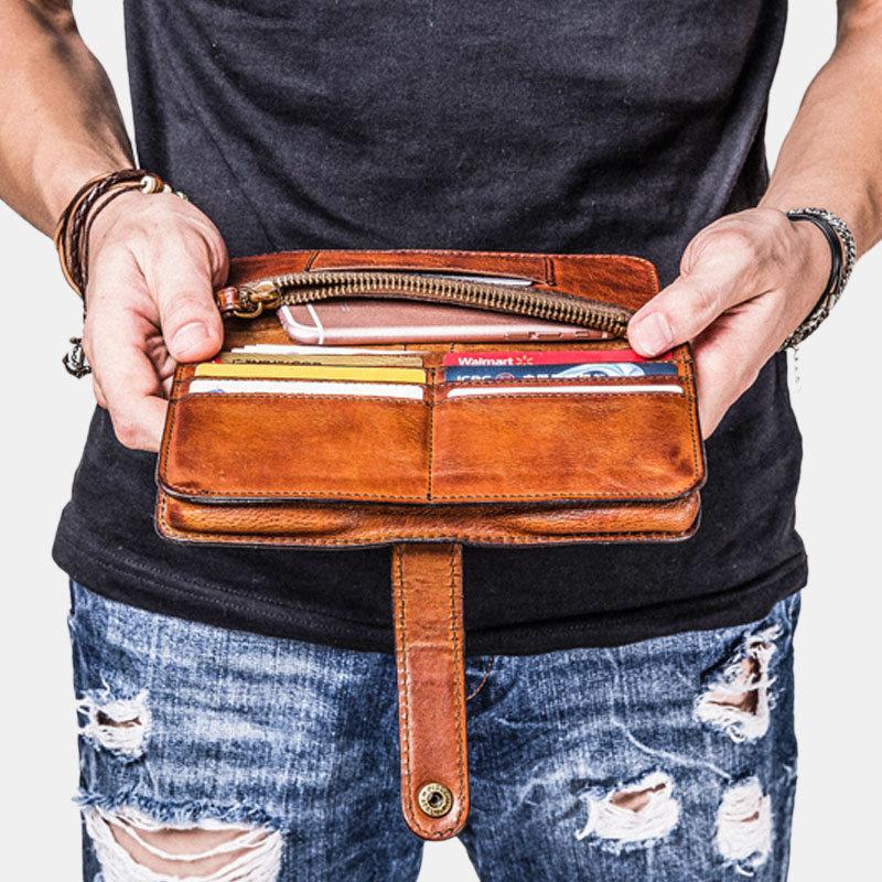 Men Vintage Card Holder Solid Phone Bag Long Wallet