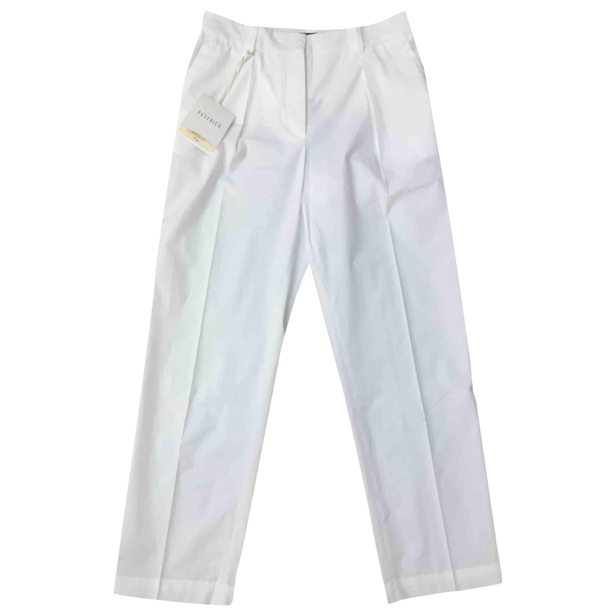 Peserico \N White Cotton Trousers for Women 40 IT