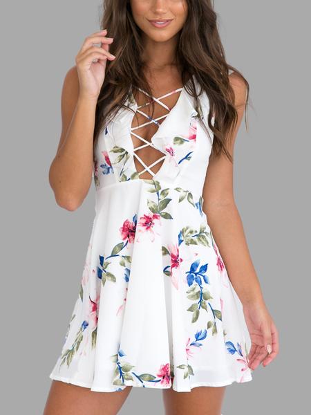 Yoins White Hollow Out Criss-cross Front Random Floral Print Mini Dress