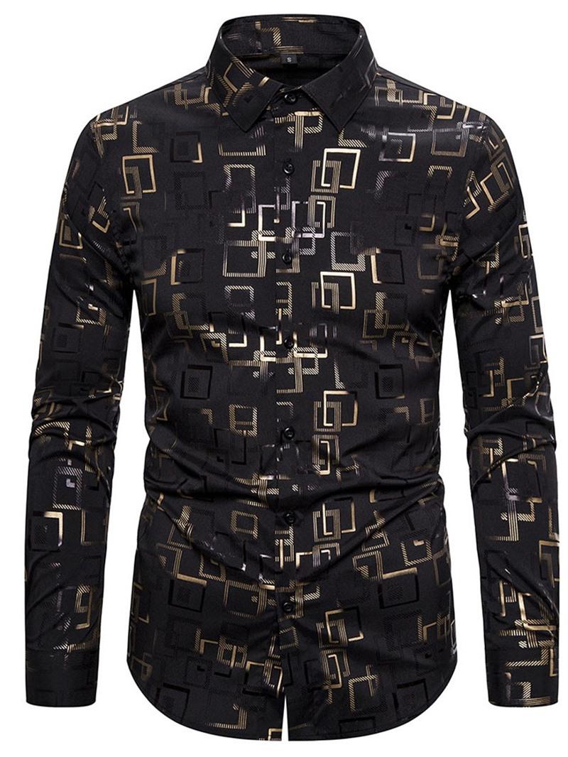 Ericdress Geometric Casual Lapel Single-Breasted Fall Shirt