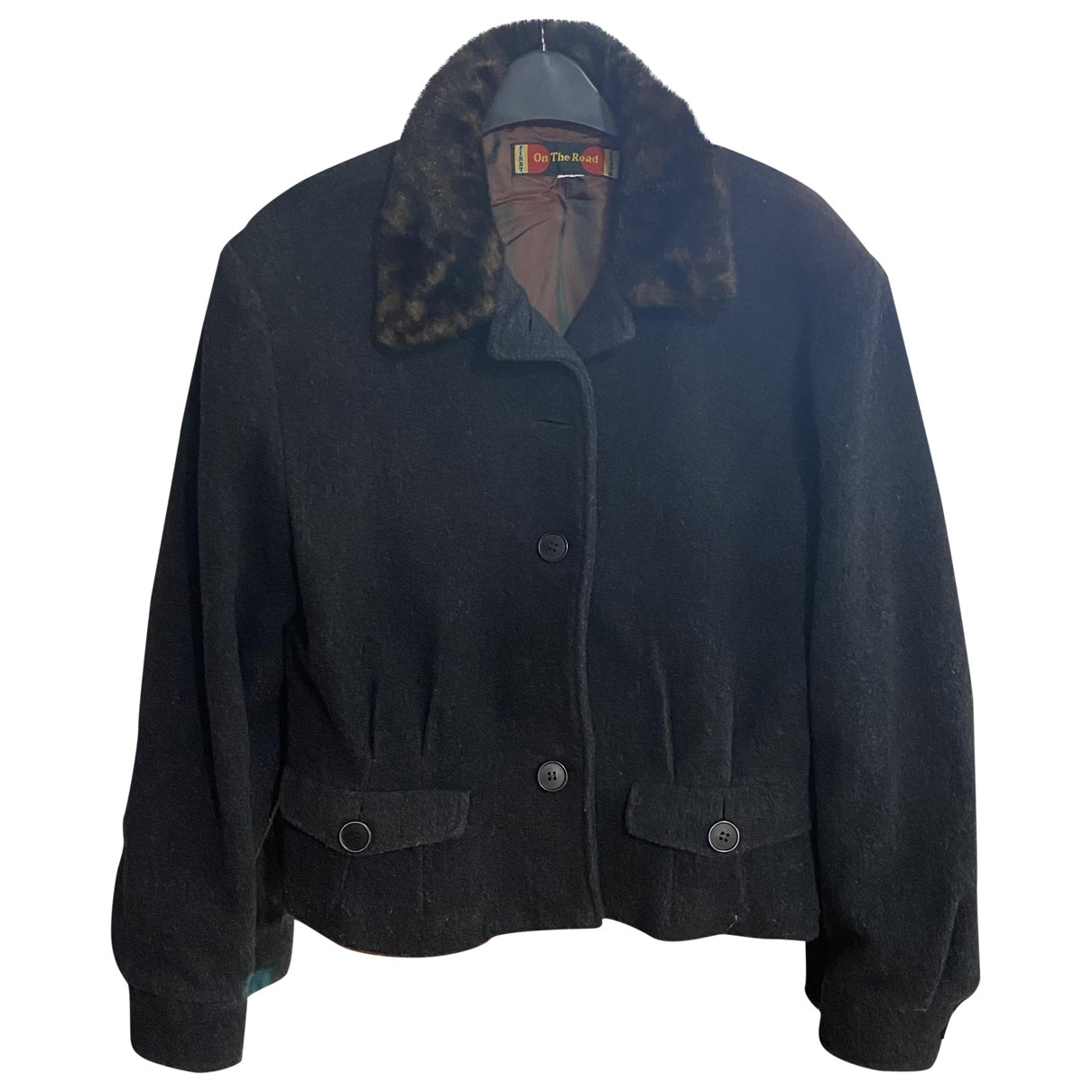 Non Signé / Unsigned \N Grey Wool Leather jacket for Women 36 FR