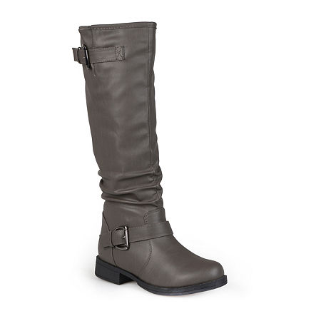 Journee Collection Womens Stormy Wide Calf Riding Boots, 9 1/2 Medium, Gray