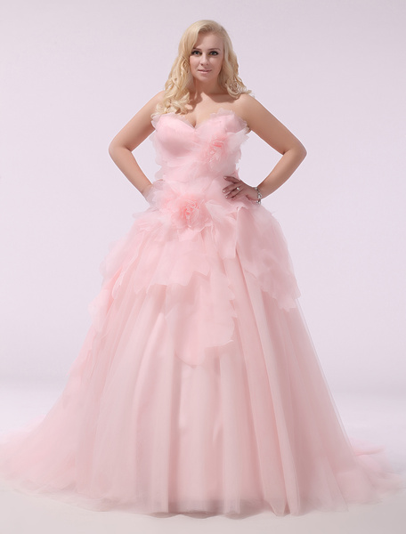 Milanoo Plus Size Wedding Dress Pink Organza Bridal Gown Sweetheart Strapless A Line 3D Flowers Court Train Bridal Dress