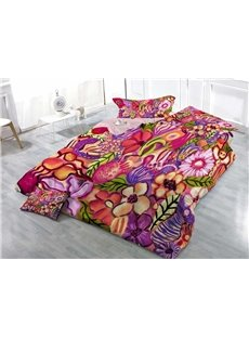 Colorful Hand-painted Flowers Wear-resistant Breathable High Quality 60s Cotton 4-Piece 3D Bedding Sets