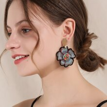 Embroidered Flower Charm Drop Earrings
