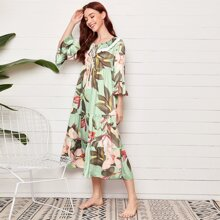 Embroidered Tie Neck Floral Print Satin Night Dress