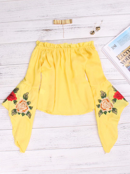 Yoins Yellow Embroidered Off The Shoulder Bell Sleeves Blouses