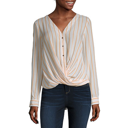 a.n.a Womens Long Sleeve Relaxed Fit Button-Down Shirt, Large , Yellow