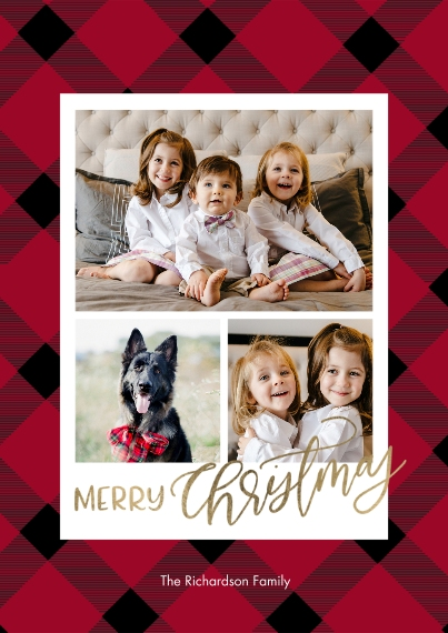 Christmas Photo Cards 5x7 Cards, Premium Cardstock 120lb with Scalloped Corners, Card & Stationery -Christmas Gold Script Plaid by Tumbalina