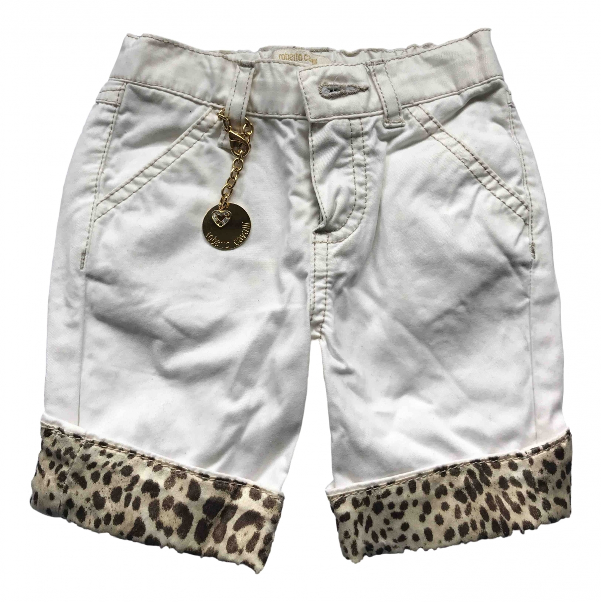 Roberto Cavalli \N White Cotton Trousers for Kids 3 months - up to 60cm FR
