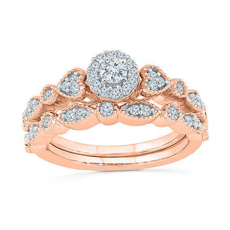Womens 1/2 CT. T.W. Genuine White Diamond 10K Rose Gold Bridal Set, 8 , No Color Family