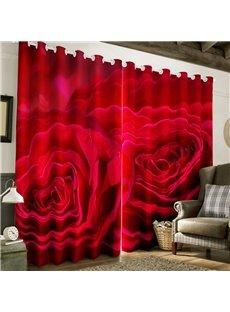 3D Fresh Red Rose Printed Polyester Custom Grommet Top Curtain for Living Room