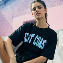 Letter Graphic Black Oversized Tee