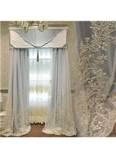 American Pastoral Romantic Sky Blue Decorative Custom Grommet Curtains for Living Room