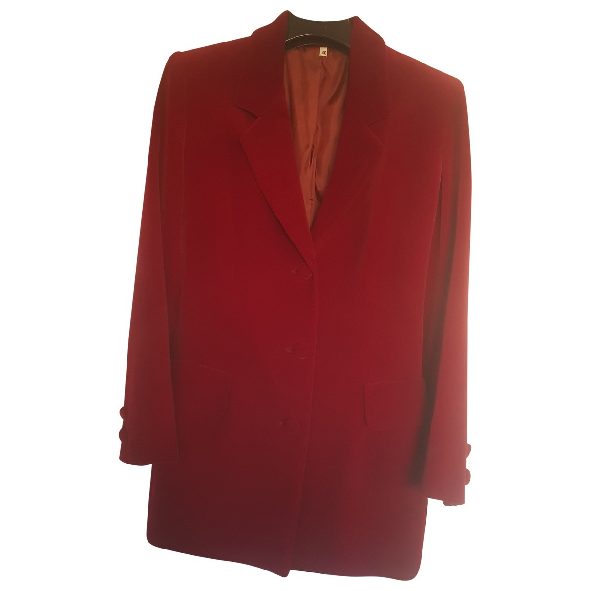 Non Signé / Unsigned \N Burgundy Cotton jacket for Women 40 IT