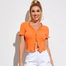 Buttoned Front Frill Trim Rib-knit Top