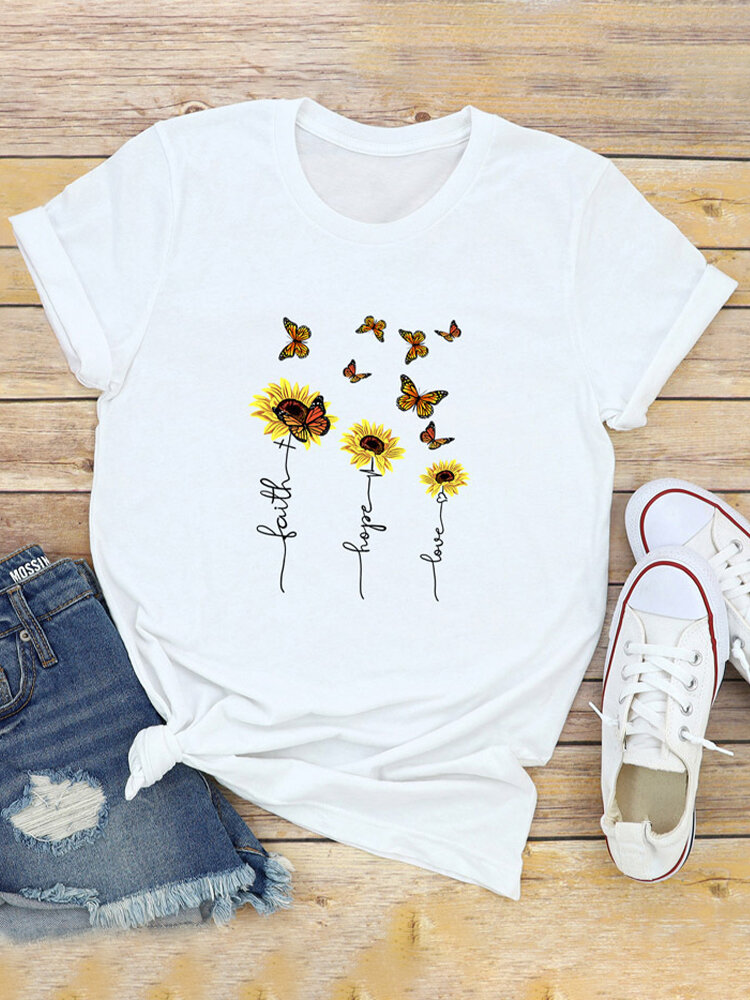 Sunflower Butterflies Print Short Sleeve T-shirt For Women