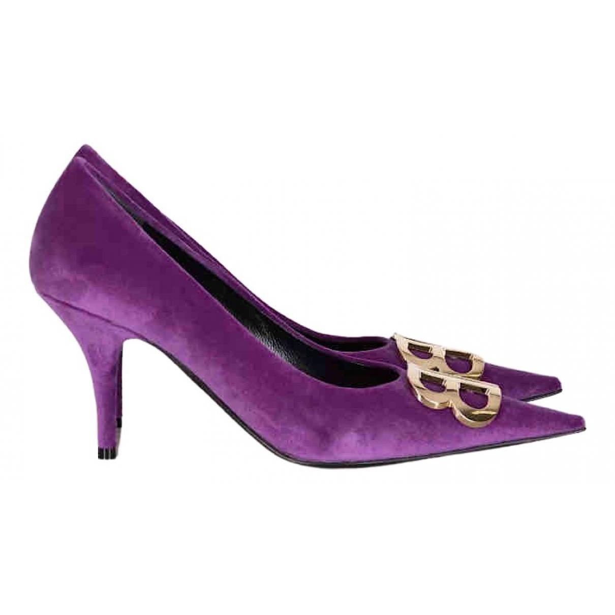 Balenciaga BB Purple Suede Heels for Women 39 EU