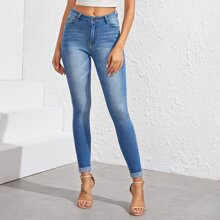 Stonewash Cat Whiskers Skinny Jeans