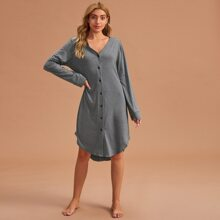 V-neck Rolled Sleeve Button Front Lounge Dress