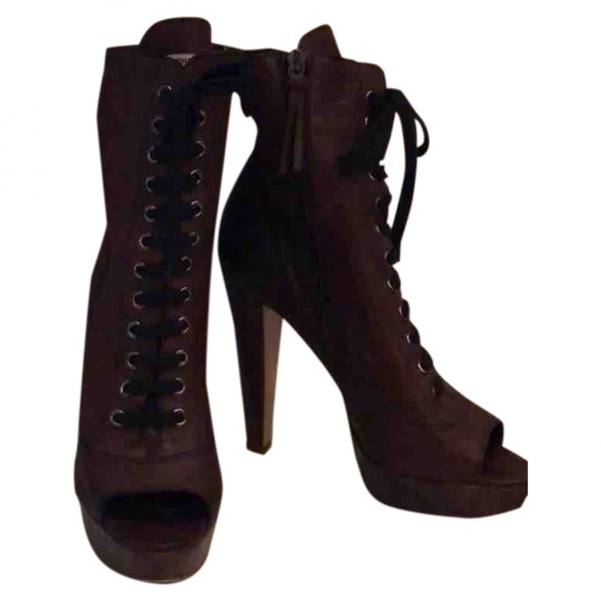 Miu Miu \N Brown Leather Ankle boots for Women 37 EU