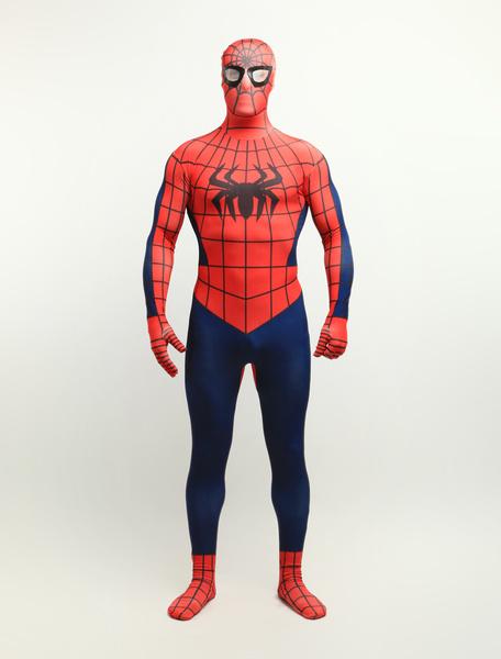 Milanoo Halloween Spiderman Zentai Suit Lycra Spandex Super Hero Full Bodysuit Halloween