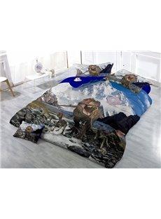 Stunning Dinosaur and Snow Mountain Wear-resistant Breathable High Quality 60s Cotton 4-Piece 3D Bedding Sets