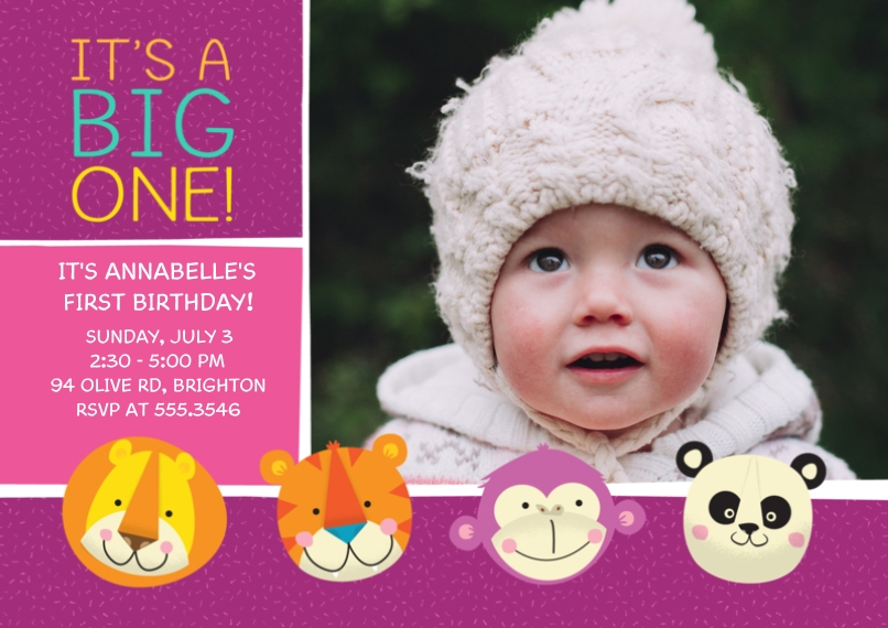 1st Birthday Invitations 5x7 Cards, Standard Cardstock 85lb, Card & Stationery -Zoo Animals 1st Birthday