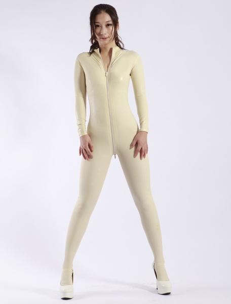 Milanoo Halloween Fashion White Zipper Women's Latex Catsuits Halloween