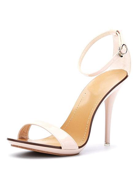 Milanoo High Heels Sandals Womens Blue Open Toe Ankle Strap Stiletto Heels Sandals