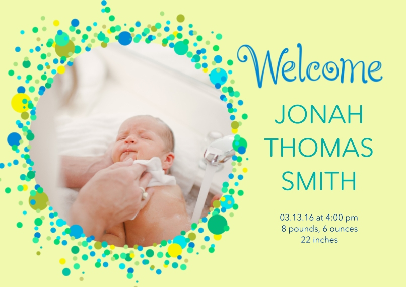 Newborn 5x7 Cards, Premium Cardstock 120lb, Card & Stationery -Bubbly Baby Announcement Boy