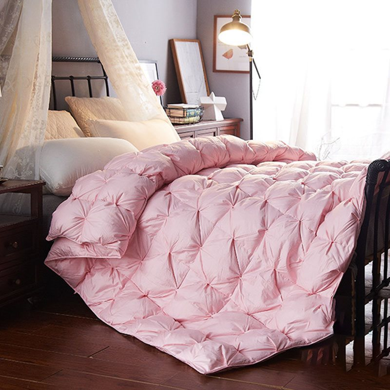 95% Goose Down Quilt Pinch Pleated Design Winter Warm Quilt 5.5-8.8lbs 2.5-4kg