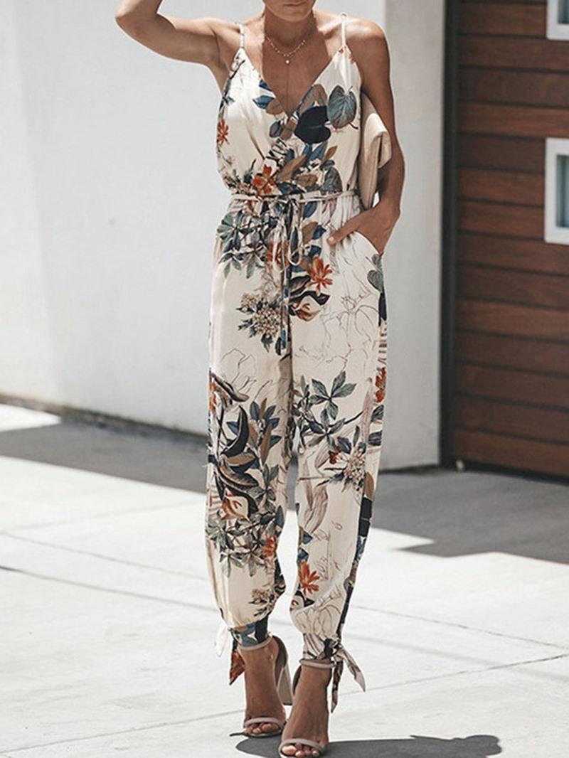 Ericdress Floral Strap Ankle Length Print Slim Jumpsuit