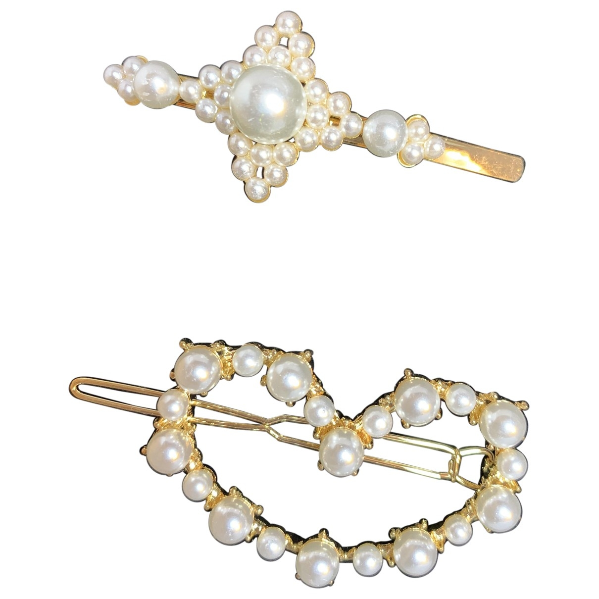 Non Signé / Unsigned \N White Metal Hair accessories for Women \N