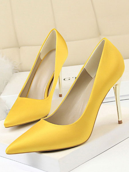 Milanoo Satin Dress Shoes Black Pointed Toe Stiletto Heel Party Shoes Women High Heels