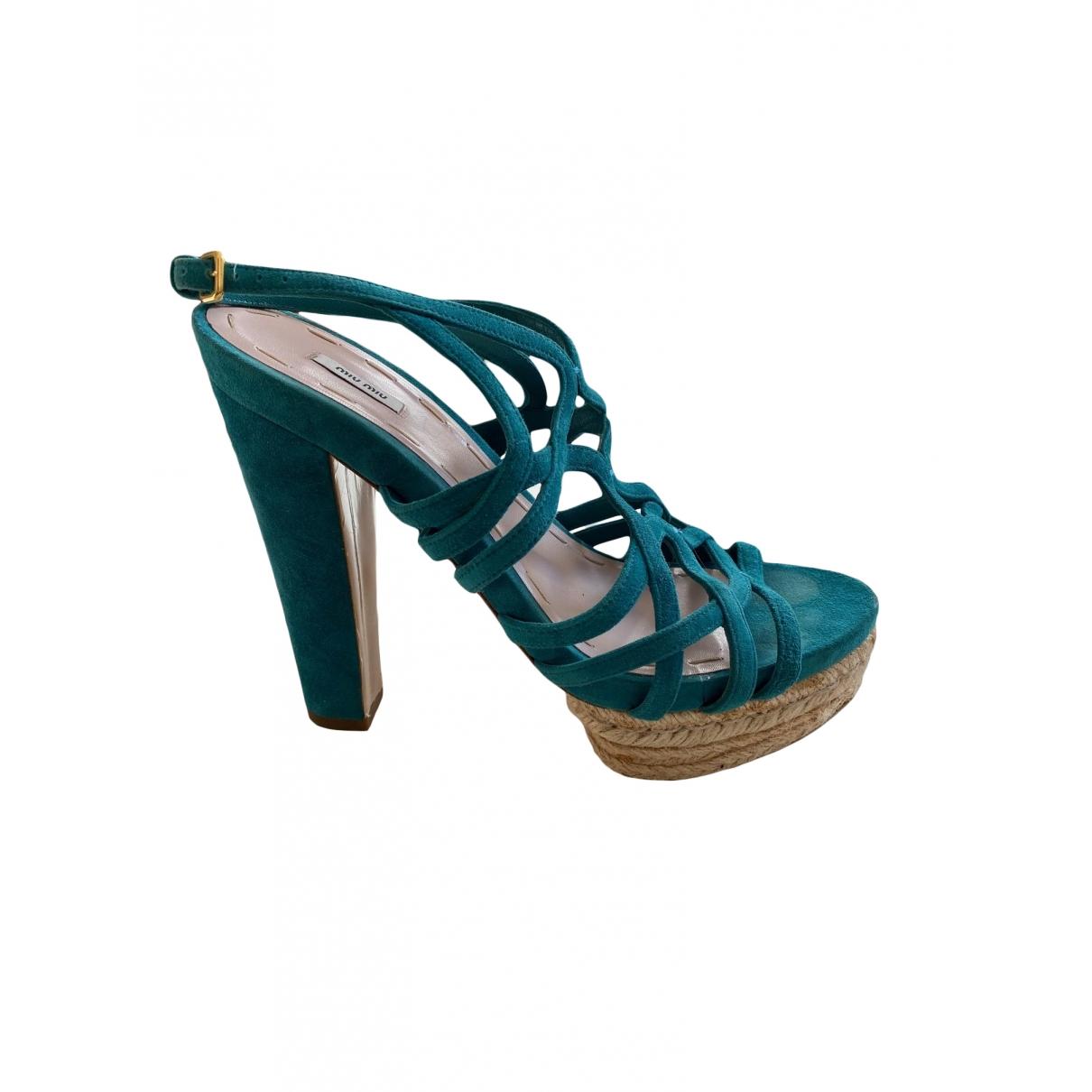 Miu Miu \N Turquoise Suede Sandals for Women 39 EU